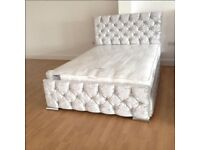 ☀️💚☀️SINGLE, DOUBLE & KING☀️💚☀️DOUBLE CRUSHED VELVET CHESTERFIELD BED WITH WIDE RANGE OF MATTRESS