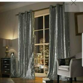 Kylie Minogue grey crushed velvet curtains