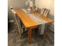 Harvey's Solid Oak Dining Table + 4 Chairs