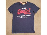 Superdry Vintage Duo Blue and Orange Printed T-Shirt Medium