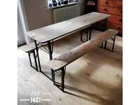 Vintage trestle table and matching benches, kitchen table, dining table, garden table