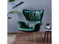 Green wingback armchair leather