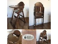 High chair solid wood