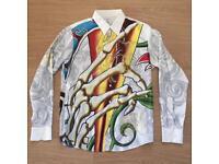 "Brand new Christian Audigier medium men's white ""Roses and Skulls"" shirt. Decorated in rhinestones"