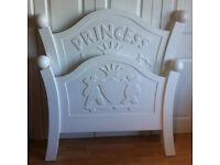 Designer 'Steve Allen' Carved Princess Bed - White Single Solid Pine - 2 Available LIKE NEW