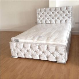 ☀️💚☀️CASH ON DELIVERY☀️💚☀️DOUBLE CHESTERFIELD BED CRUSHED VELVET FABRIC WITH MATTRESS OPTIONS