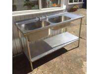 Commercial stainless steel Double drainer kitchen Sink