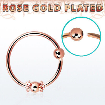 Real Rose Gold Plated Sterling Silver Wire Design 2mm Ball Nose Hoop Ring 20Ga  Ring Gold Plated Wire Design