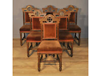 Attractive Church Set of 6 Antique Victorian Oak Dining Chairs For Reupholstery