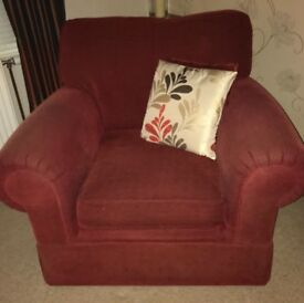 Sofa, two chairs, footstool & cushions