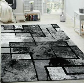 Alaya Black Grey Area Rug Soft Floor Mat Pattern Rug