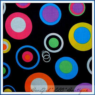 BonEful Fabric FQ Cotton Quilt Black Pink Purple Red B&W Rai