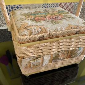 Sewing basket & vintage cottons