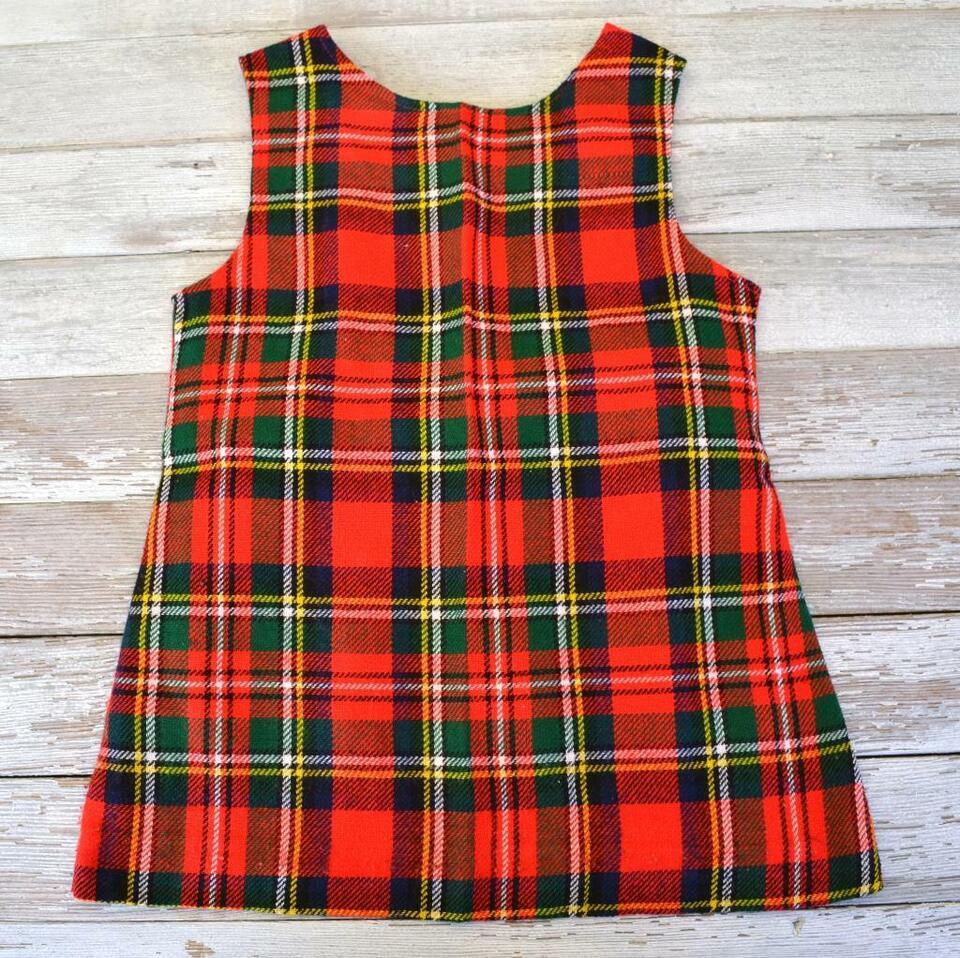 Vintage Mädchen-Kleid rot kariert Karo Minikleid 13er Jahre alt