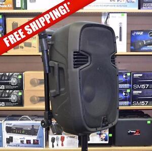 "Acoustic Audio 4312T 12"" 800 Watt Portable Rechargeable PA Speaker System w/ 2 VHF Wireless Microphones"