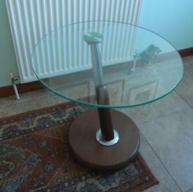 Stylish circular glass topped occasional side table