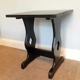 Unique Vintage / Retro Black Square Solid Wooden Hall Table