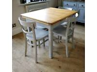 Vintage draw leaf table and 4 chairs, extending dining table, kitchen table, dining table