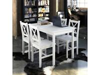 Dining Table and 4 Chairs - white, wooden
