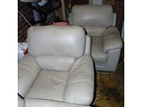 leather 3 seater sofa 2 x chairs