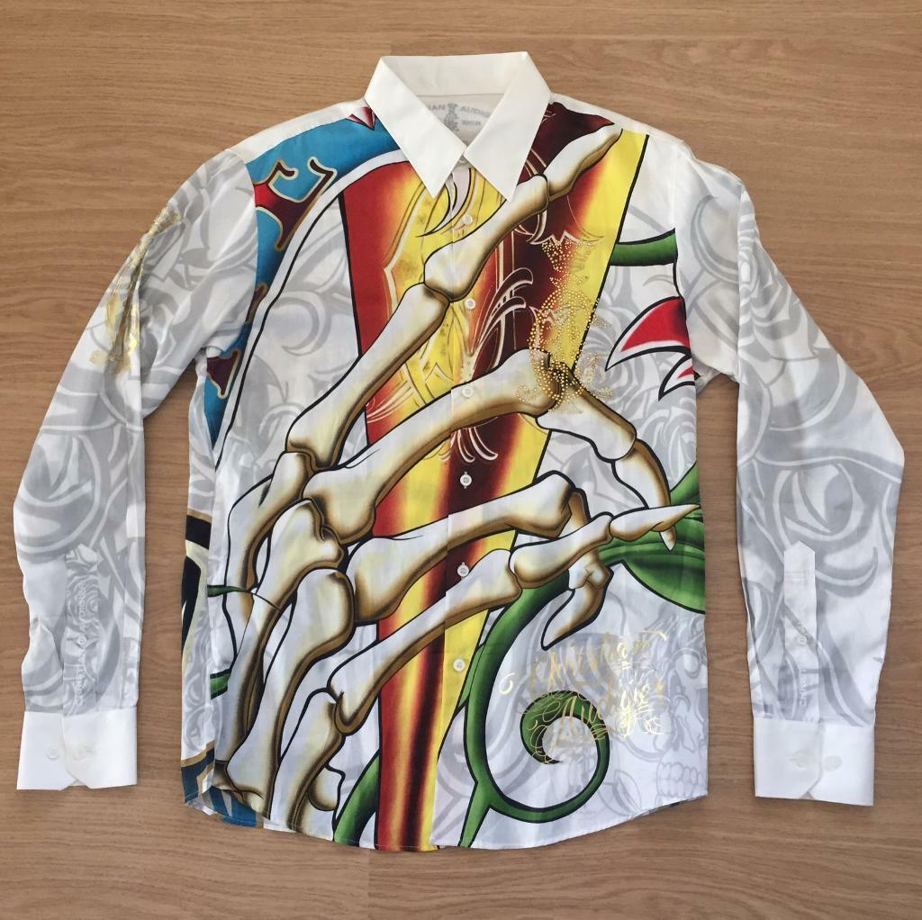 "Brand new Christian Audigier medium men's white ""Roses and Skulls"" shirt. With rhinestones"