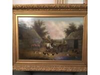 Antique Oil Painting on Canvas 'Horses, pigs & fowl in farmyard' by WH Hardy