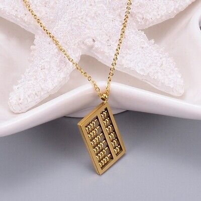Women Gold Plated Titanium Stainless Steel Wealth Gold  Abacus Necklace 16-18""