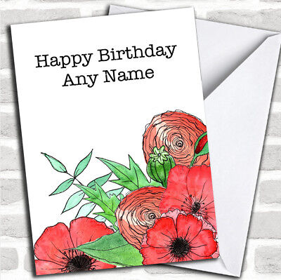 Poppies & Flowers Customized Birthday Greetings Card ()