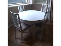 Ikea extendable dining table plus 4 chairs
