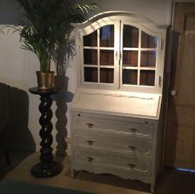 Antique French Oak Armoire Vitrine Glazed Display Cabinet Louis XV || Book case