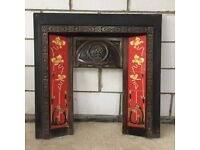 Cast iron fire surround with tulip tiles