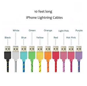 10 feet long iPhone and iPad Charging Cables with Braided Nylon- Choose Your Colours