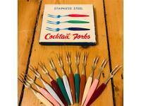Vintage Cocktail Forks, Stainless Steel