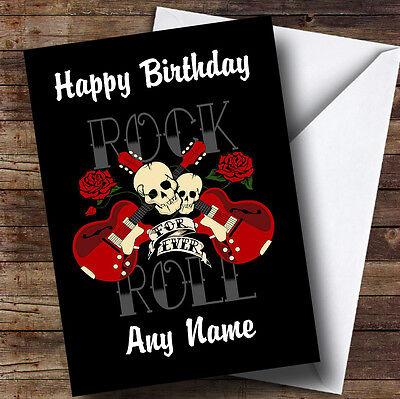 - Rock N Roll Music Personalised Birthday Greetings Card
