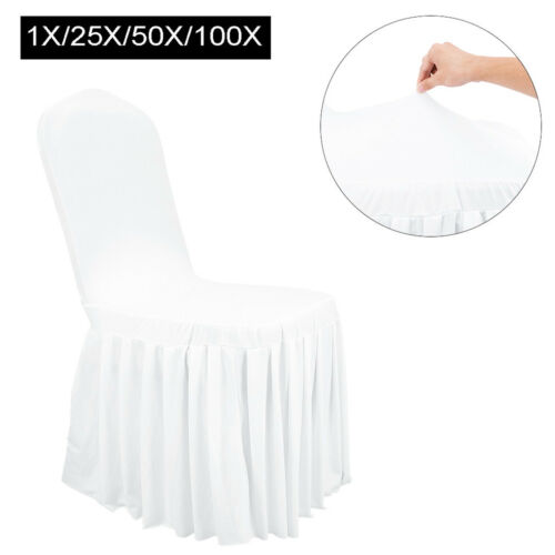 1-100pcs Pleated Skirt Chair Cover Polyester Wedding Party Banquets Home Decor