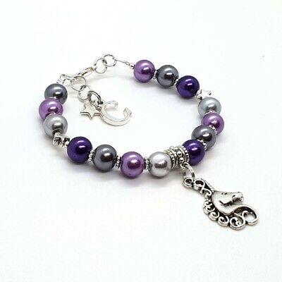 Purple Kids Charm - Personalised Child Kids Unicorn Horse Charm Bracelet Handmade Purple Silver Gift