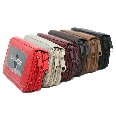 Genuine Leather Accordion Style Credit Card Holder Wallet Accordion Credit Card