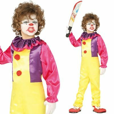 Kids Boys Scary Evil Circus Clown Fancy Dress Halloween Costume Horror