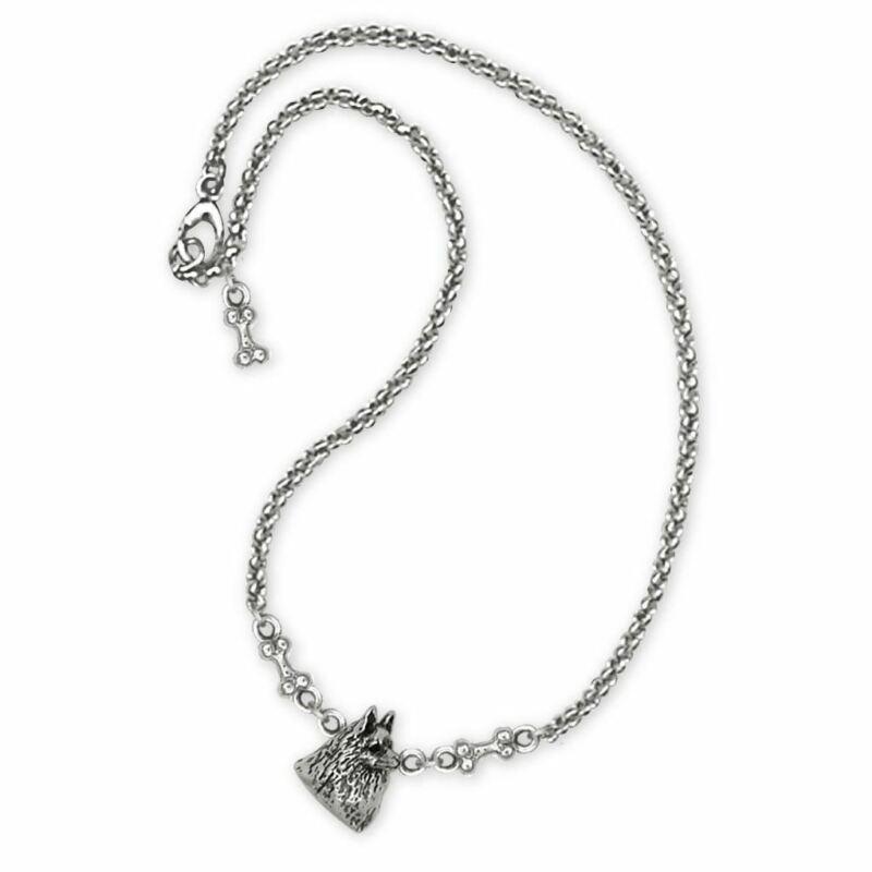 Schipperke Jewelry Sterling Silver Schipperke Ankle Bracelet Handmade Dog Jewelr