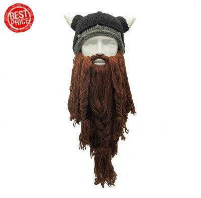 Viking Beard Hats (Viking Beard Beanies Horn Hats Winter Warm Knit Wind Mask Wool Funny)