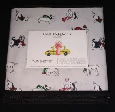 NWT! Cynthia Rowley Winter Dogs In Scarves Extra Deep Twin Sheet Set Microfiber