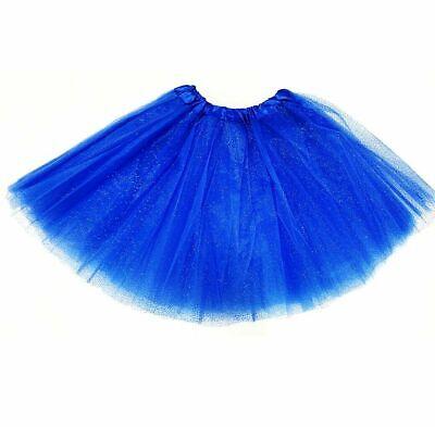 ROYAL BLUE GLITTER TUTU WOMENS LADIES CUTE 40CM PRINCESS FANCY DRESS COSTUME (Glitter Womens Kostüme)