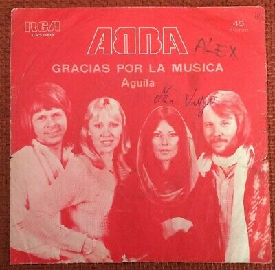 "ABBA-CHILE VERY RARE SINGLE WITH PS GRACIAS POR LA MUSICA/AGUILA 45 RPM 7"" 1978"