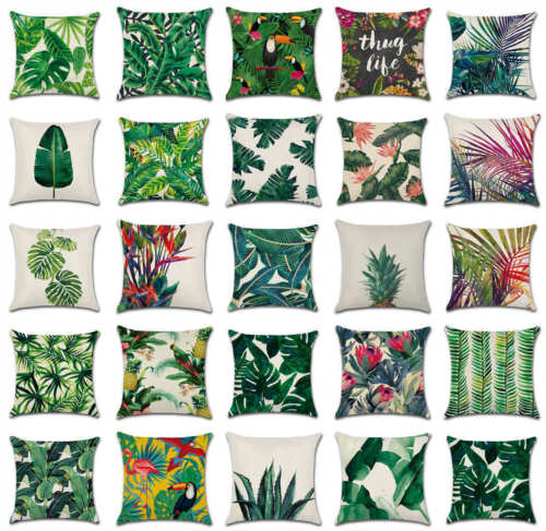 Africa Tropical Plant Printed Cushion Cover Green Leaves Throw Pillow Case Decor