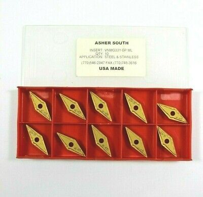 Asher South Vnmg331 Gp Ml Carbide Inserts Brand New Made In Usa Lot Of 10
