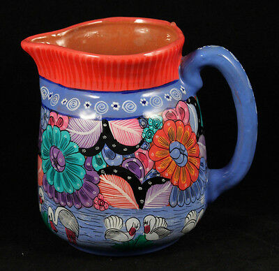 Mexican Ceramic Pitcher/Vase Hand Made/Painted Folk Art Decorative Pottery