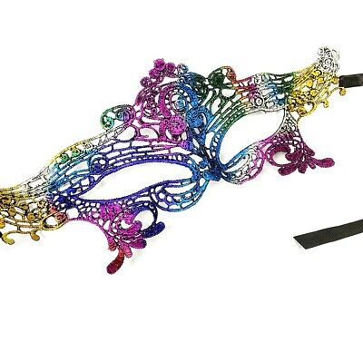 Rainbow Lace Eye Mask Masquerade Ball Fancy Dress Costume Pride Cute Halloween