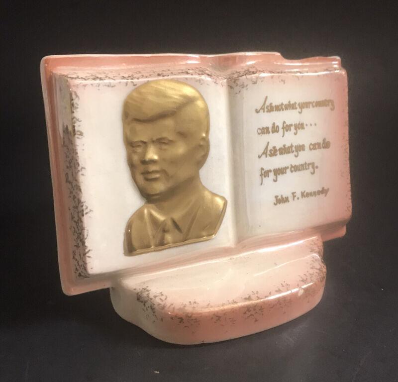 "Vintage 60s JFK John Kennedy &  ""Ask Not …"" Quote Ceramic Planter Norcrest Japan"