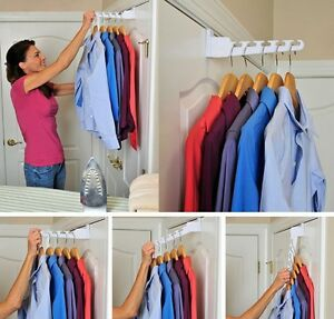 Over-The-Door Hanger White Holder Rack Hook Clothing Laundry Storage Clothes 2pc