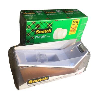 Scotch Magic Tape Refill 12 Rolls 34x1500 Per Roll Matte With Dispenser